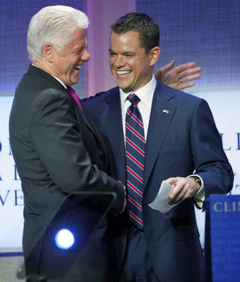 Bill Clintion and Matt Damon