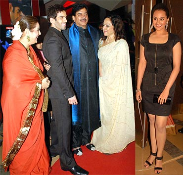 The Sinhas -- Poonam, Luv, Shatru, Sonakshi -- with Hema Malini
