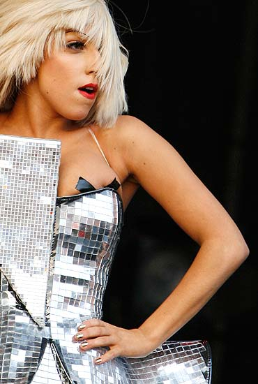 Lady Gaga performs at the Glastonbury Festival 2009 in southwest England