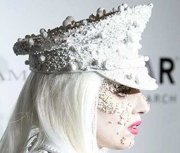 Lady Gaga arrives for the amFAR (The Foundation for AIDS Research) annual gala in New York