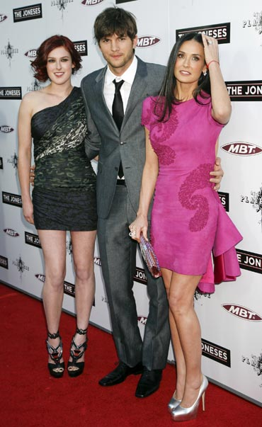 Rumer Willis, Ashton Kutcher and Demi Moore