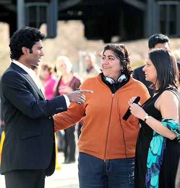 Sendhil Ramamurthy, Gurinder Chadha and Goldy Notay on the sets of It's a Wonderful Afterlife