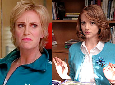 Jane Lynch and Jayma Mays