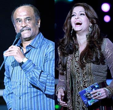 Rajnikanth and Aishwarya Rai Bachchan
