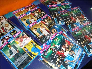 A picture of pirated DVDs