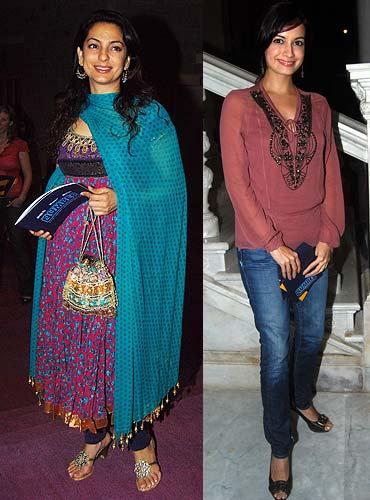 Juhi Chawla and Dia Mirza