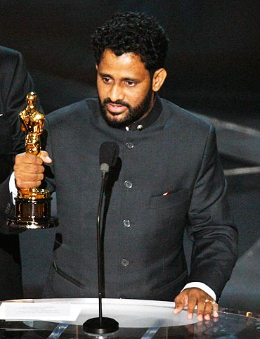 Resul Pookutty poses with his Oscar