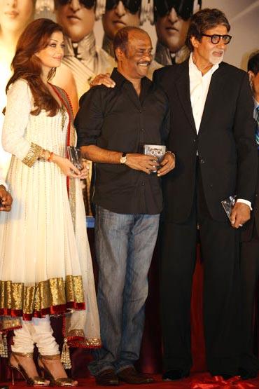 Aishwarya Rai Bachchan, Rajnikanth and Amitabh Bachchan