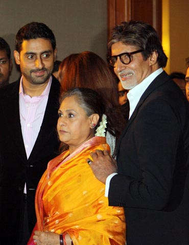 Abhishek, Jaya and Amitabh Bachchan at the event