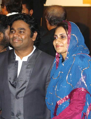 A R Rahman with wife Saira at the music launch