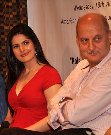 Zarine Khan and Anupam Kher