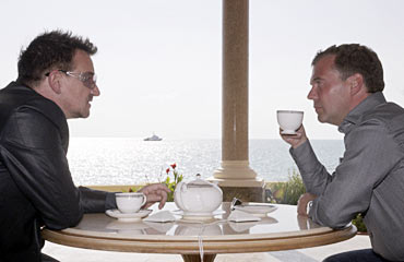Russia's President Medvedev meets with Bono in Sochi