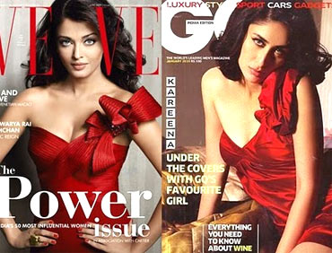 Aishwarya Rai Bachchan on Verve cover; Kareena Kapoor on GQ cover