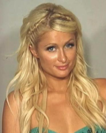 Paris Hilton is pictured in this police booking photograph