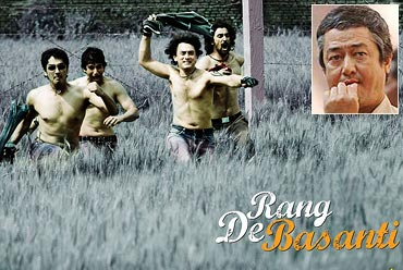 A scene from Rang De Basanti with an inset of Binod Pradhan