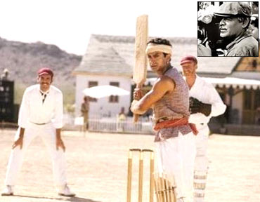 A scene from Lagaan and an inset: of Anil Mehta