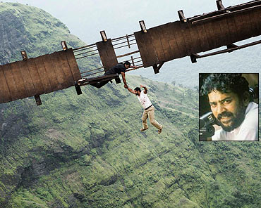 A scene from Raavan and an inset of Santosh Sivan
