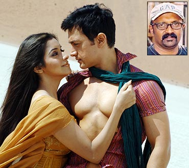 A scene from Ghajini and an inset of Ravi K Chandran