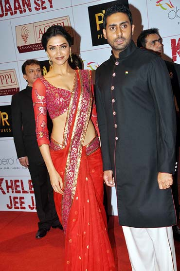 Deepika Padukone and Abhishek Bachchan at the KHJJS premiere