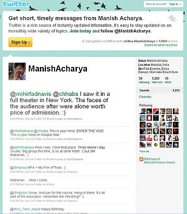 Manish Acharya's Twitter page