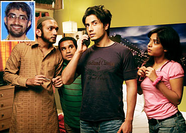 A scene from Tere Bin Laden, inset Abhishek Sharma