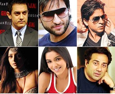 Aamir Khan, Saif Ali Khan, Shah Rukh Khan, Tabu, Asin, Sunny Deol