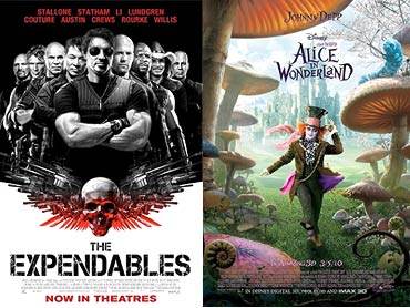 Movie poster of The Expendables and Alice in Wonderland