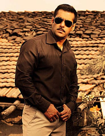 Salman Khan in Dabangg, the biggest Hindi movie hit ever!
