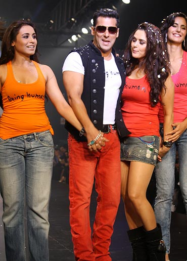 Salman with Rani Mukerji, Preity Zinta and Katrina Kaif