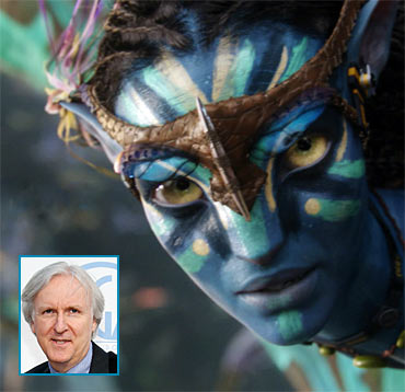 A scene from Avatar. Inset: James Cameron