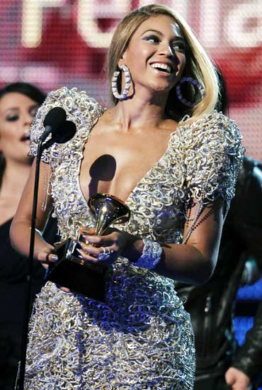 Beyonce holds the Grammy for best female pop vocal performance for Halo at the 52nd annual Grammy Awards