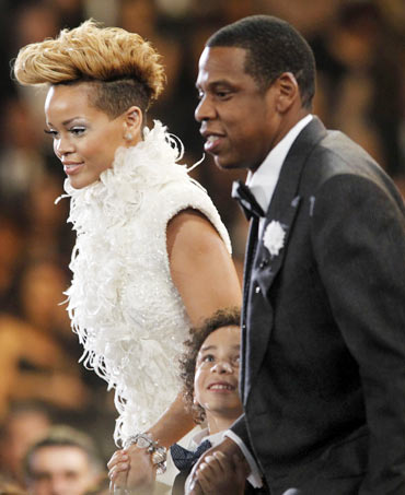 Rihanna and Jay-Z take the stage to accept a Grammy for best rap collaboration