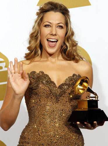 Colbie Caillat holds her award for Best Pop Collaboration