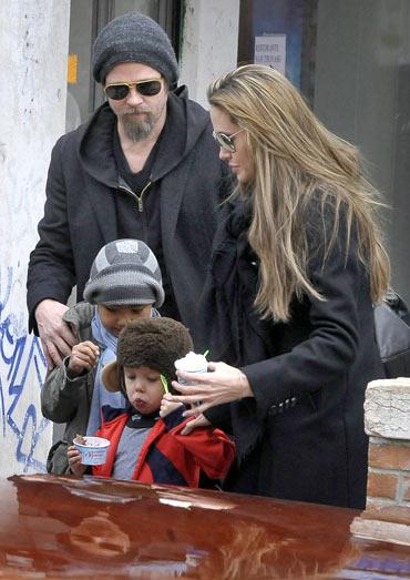 Brad Pitt, Angelina Jolie, Maddox Chivan Jolie-Pitt and Shiloh Nouvel
