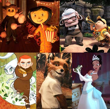 Scenes from Coraline, Up, The Secret of Kells, Fantastic Mr Fox and The Princess and the Frog