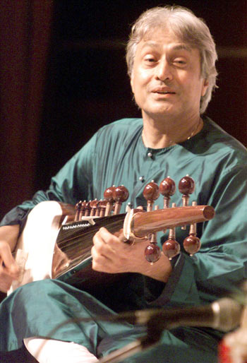 Amjad Ali Khan plays the sarod in New Delhi