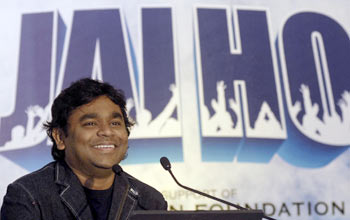 A R Rahman smiles during a news conference in Hyderabad