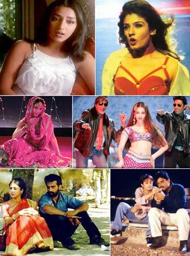 Scenes clockwise from Ijaazat, Aks, Omkara, Bunty Aur Babli, Satya and Hu Tu Tu