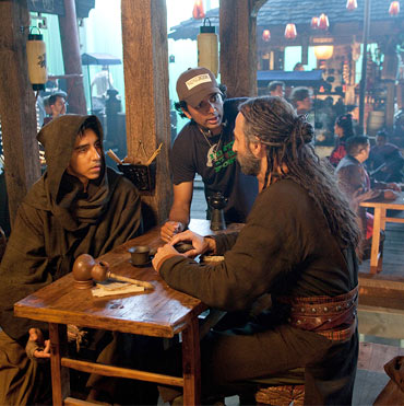 Dev Patel, M Night Shyamalan and Shaun Toub on the sets of The Last Airbender