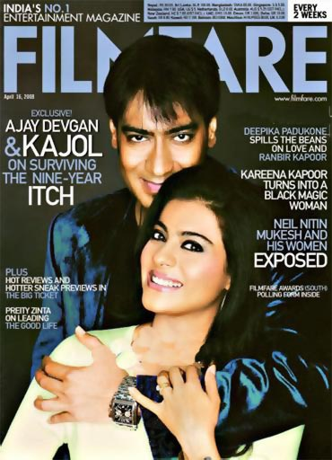 Ajay Devgn and Kajol on the cover of Filmfare magazine