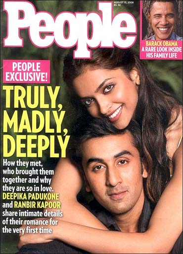Ranbir Kapoor and Deepika Padukone on the cover of People Magazine