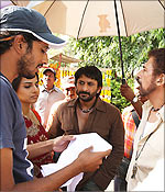 Abhishek Chaubey, Vidya Balan, Arshad Warsi, Naseeruddin Shah on the sets of Ishqiya