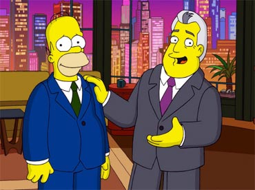 Homer Simpson and Jay Leno in The Simpsons