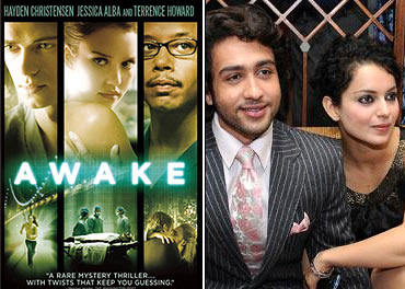 A poster of Awake, and Adhyayan and Kangna Ranaut