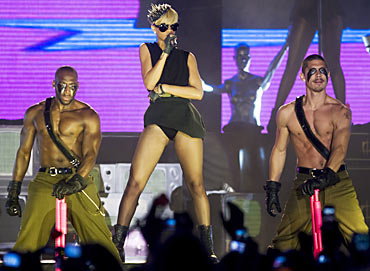 Rihanna performs during a concert in Tel Aviv on Sunday