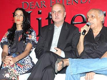 Neha Dhupia, Anupam Kher and Mahesh Bhatt