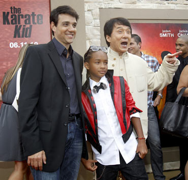 Ralph Macchio, Jaden Smith and Jackie Chan