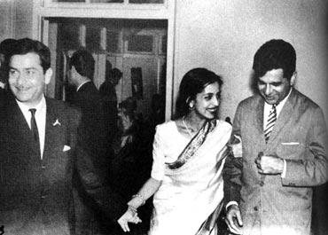 Raj Kapoor, Leela Naidu and Dilip Kumar