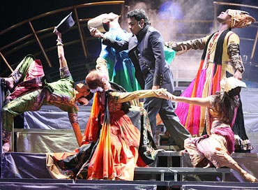 A R Rahman and dancers perform