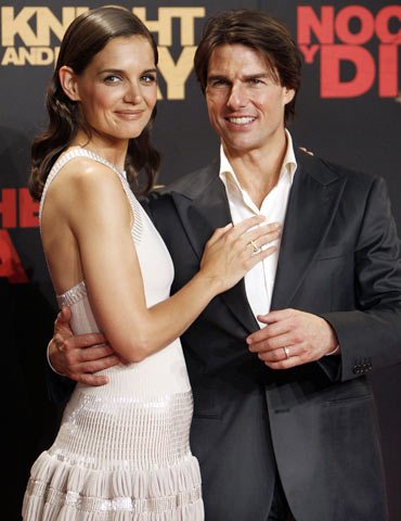 Katie Holmes and Tom Cruise pose during the world premiere of  Knight and Day in Spain on Wednesday